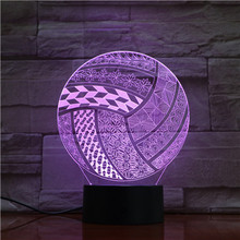 Led Night Light Sport Volleyball Ball Shape 3d Illusion Table Lamp for Kids Bedroom Decorative Atmosphere Gift Child