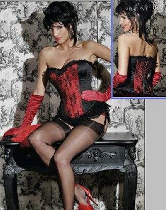 Women Sexy Satin   Corset   Brocade Floral   Bustier   Top Lace Up Back Lingerie Bodyshaper Waist   Corsets