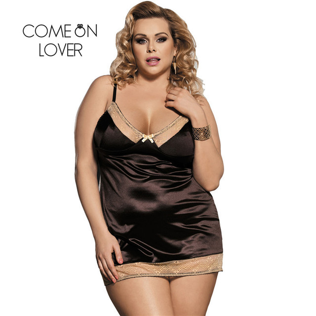 Comeonlover Intimo Donna Sexy Hot Gold Lace Brown Satin Chemise Underwear Plus Size Costume Sleepwear Babydoll Lingerie RI80352 1