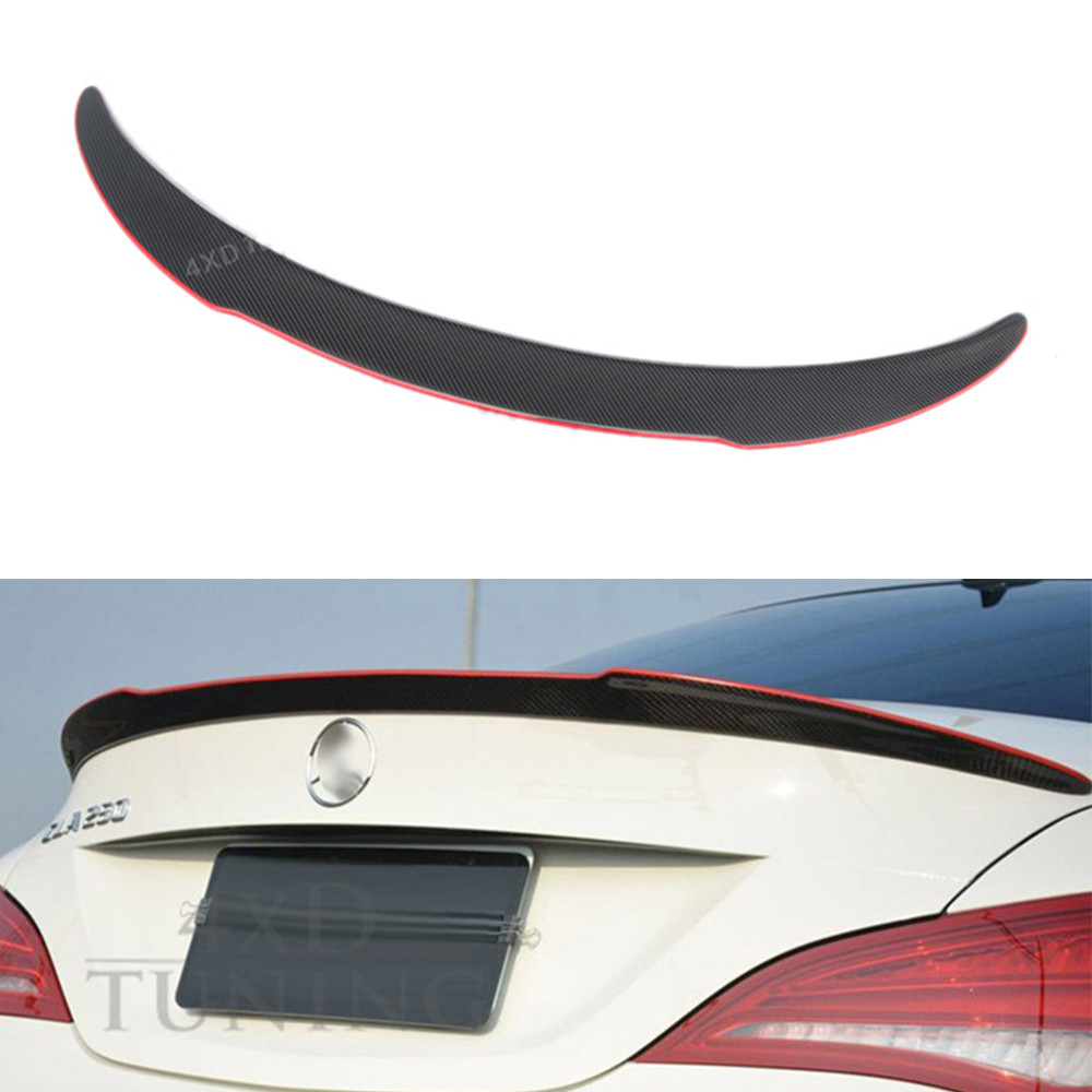 For Mercedes CLA W117 Carbon Spoiler FD Style Carbon Fiber Rear Wing Spoiler with red line CLA Class W117 AMG Spoiler 2013 -UP mercedes cla w117 amg style replacement cf rear trunk wing spoiler for benz 2013 cla 180 cla200 cla 250