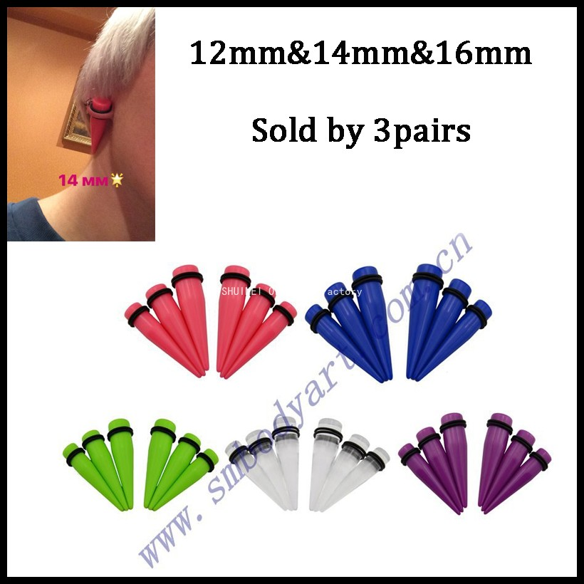 3 Pairs 6 pieces Same Color Large Size Acrylic Ear Taper Stretching kit Ear plugs set Large UV Ear Gauge 12MM&14MM&16MM image