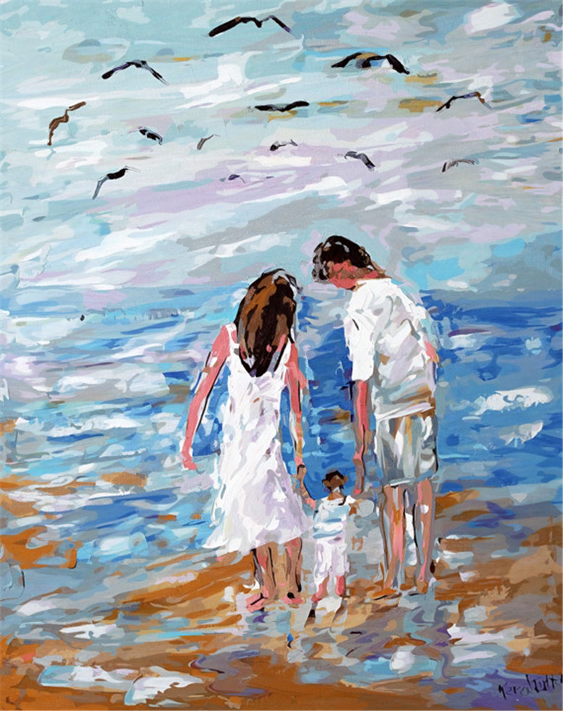 Seascape family parents painting Home Decor abstract drawing picture By Numbers Handwork Canvas