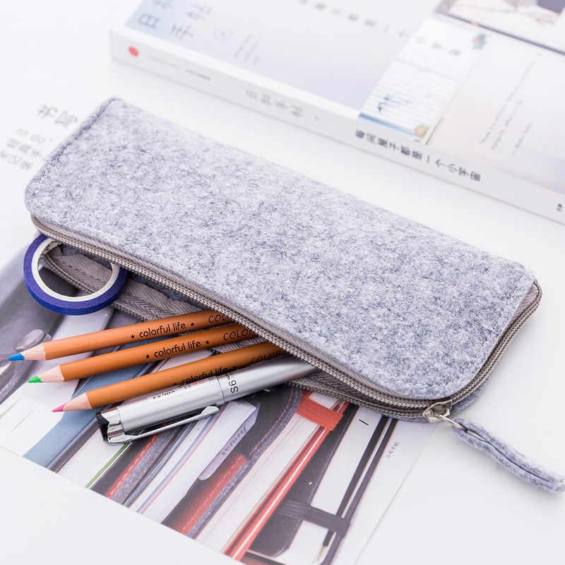 Helpro 1 шт. сплошной цвет фетровые пеналы Многофункциональный, большой емкости Пенал офисные школьные канцелярские принадлежности коробка для ручек