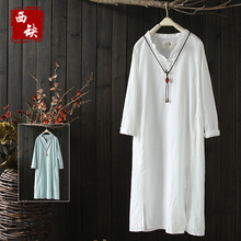 2017 new mori girl Vintage chinese style plate buttons 100% cotton one-piece dress female spring wrist-length sleeve medium-long