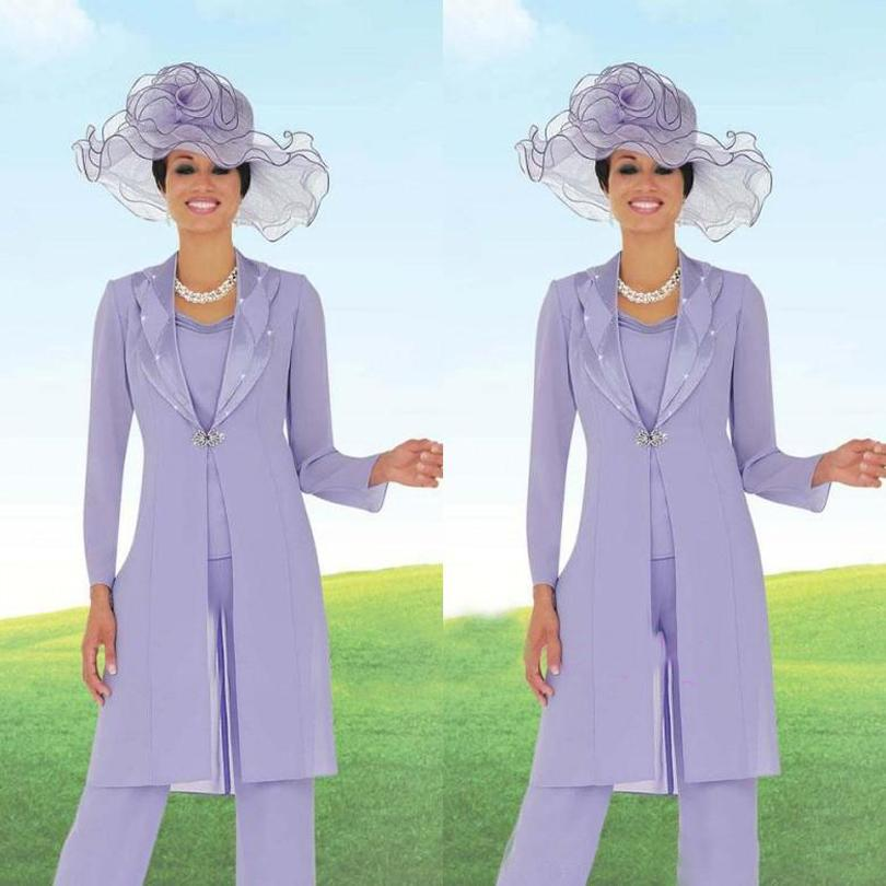 44e647be609 Elegant 3 Pieces Mother of the Bride Pant Suits Beads Chiffon Pant Suit  Wedding With Long Jacket Light Purple Godmother Dresses-in Mother of the  Bride ...