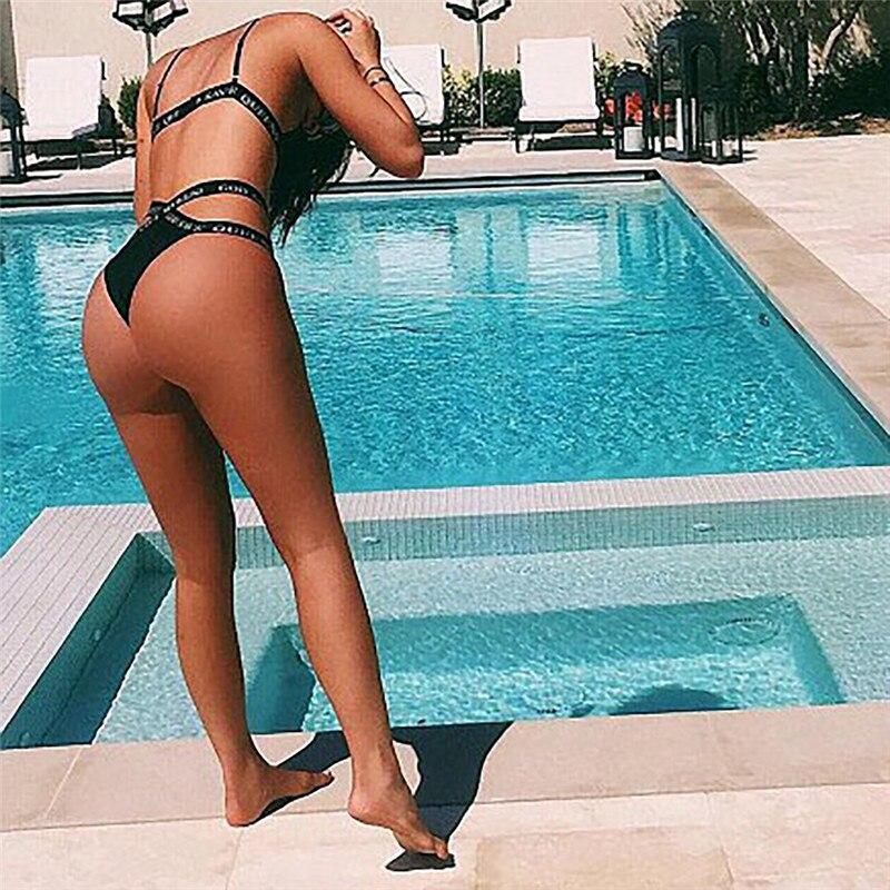 HTB1Y0Z5SXXXXXa0XpXXq6xXFXXX3 - Kylie Jenner Black God Save Queens Swimsuit Letters Bandage Cross Triangle Bikinis Set Swimwear PTC 243
