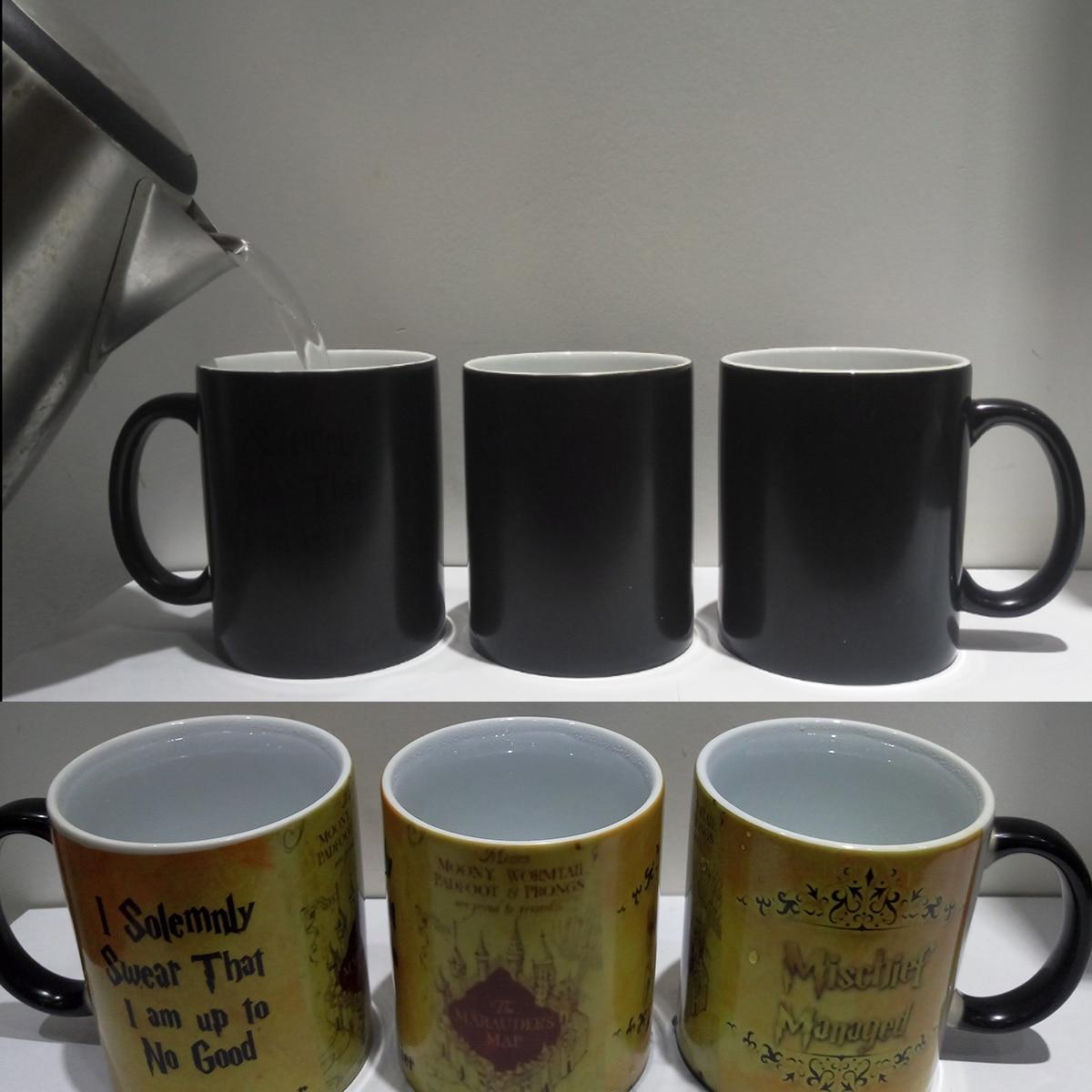 1 Stücke Magie Tassen Harry Heißes Getränk Tasse Farbwechsel Becher Potter Marauders Map Unfug Verwaltet Wein Tee Tasse Kreative geschenke
