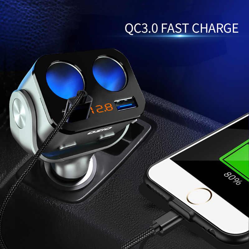 Pemantik Rokok Mobil Ganda Usb Splitter Adaptor Soket Tegangan LED Monitor Mobil USB Plug Converter Aksesoris Auto Interior Bagian