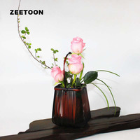 Japanese Style Handmade Bamboo Weaving Ikebana Flower Basket kit Tea Room Tabletop Vase Hydroponic Flower Pot Vintage Home Decor