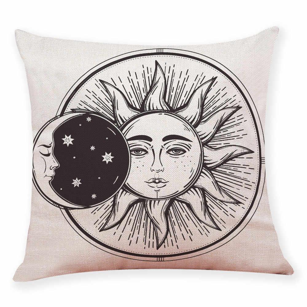 חדש לגמרי אופנה תערובת פשתן כרית כיסוי שמש ירח דפוס לזרוק בית רכב ספה דקור כרית מכסה מרובע מודפס ציפית