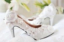 2016 Best Beautiful Round Toe Rhinestone Wedding Bridal shoes Luxurious Elegant Pearl Crystal  Fashion White Dress Shoes