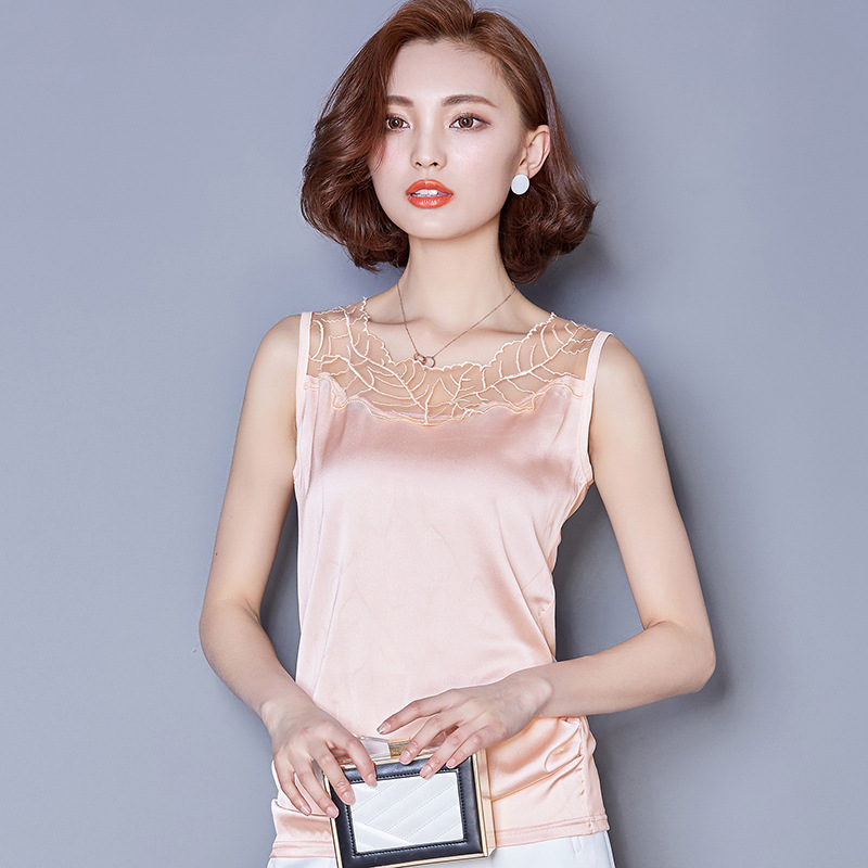 e9e6359f090549 Pure silk suspenders sleeveless summer blouse openwork lace vest wild gray  tight little camisole female backing shirt Slim-in Camis from Women's  Clothing on ...