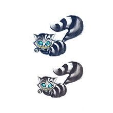 Waterproof Temporary Fake Tattoo Stickers Sexy Wild Grey Cats Blue Eyes Cartoon Design Body Art Make Up Tools