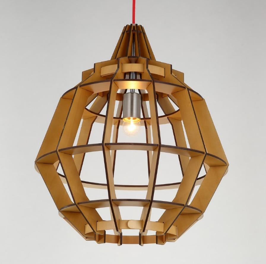 Moderne rural rétro bois art pendentif lumières à la main intérieur pli-bois puces E27 lampe à LED pour escaliers & porche & vestibule & couloir BT249