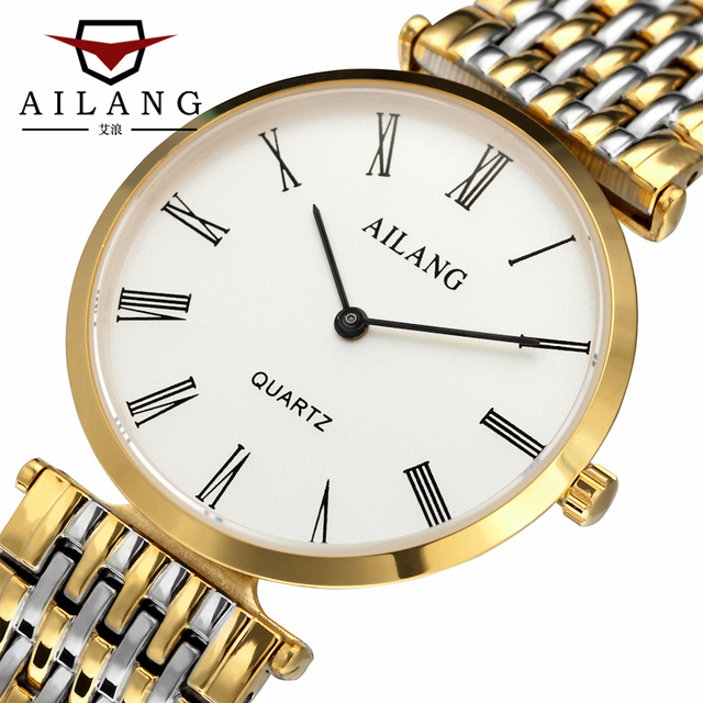 AILANG Marca Simple Pareja Relojes Fashion Business Casual Relojes de pulsera de Los Hombres de acero completo Impermeable de Cuarzo Reloj de Las Mujeres Vestido de La Muchacha