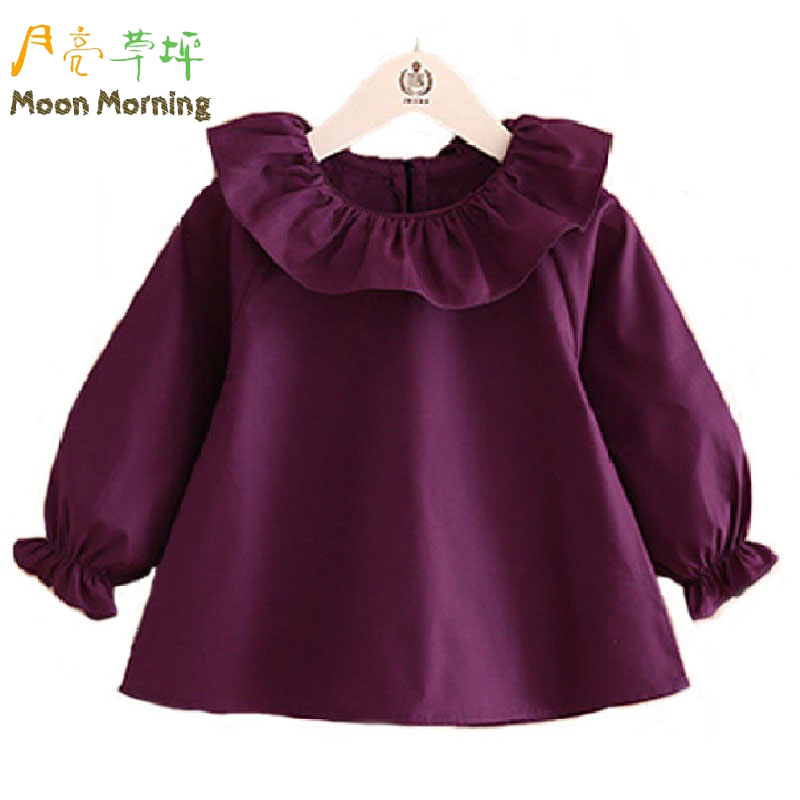 Moon Morning Kids Blouse 2T 8T Cotton Ruffle Frill Girls Shirts Solid ...