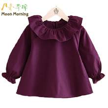 Moon Morning Kids Blouse 2T~8T Cotton Ruffle Frill Girls Shirts Solid Long Sleev Autumn Winter Newest Branded Children Clothes