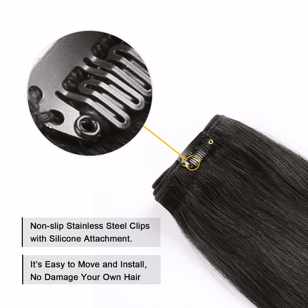 Yilite 1 Jet Black Human Remy Clips In Hair Extensions 18inch