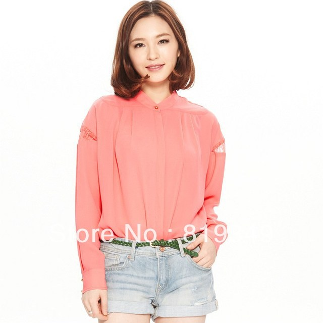 VANCL Women Loose Long Sleeve Chiffon Shirts Mao Collar Pleated Casual Blouse Lace Insert Top Sapphire Pink White FREE SHIPPING