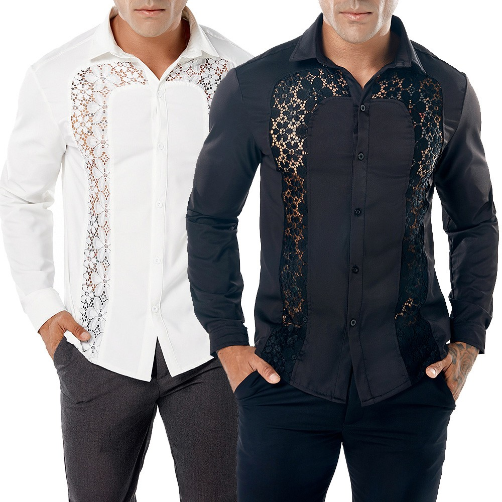 2018 Mode Männer Herbst Beiläufige Spitze Shirts Langarm Shirt Hohl Hemd Top Bluse Slim Fit Camisa Masculina Hombre Modis Rheuma Und ErkäLtung Lindern