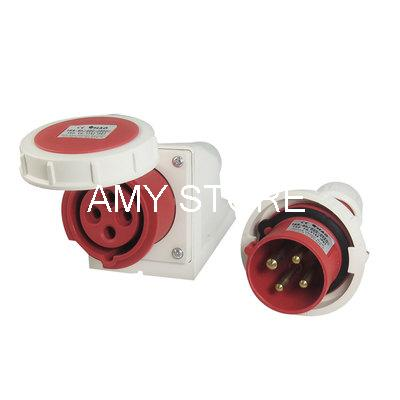 16A Splash Proof 3P+E IEC309-2 Industrial Panel Mounted Plug Connector abb industrial connector four pole mobile industrial plug 63a 363p6