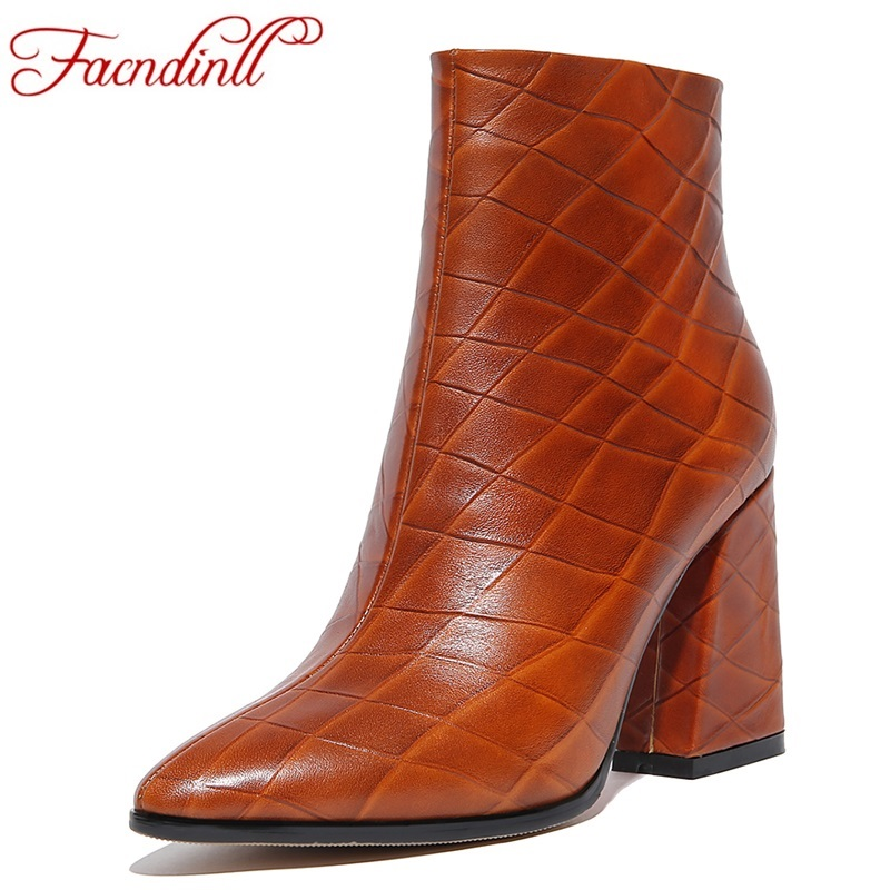 FACNDINLL autumn boots handmade genuine leather ankle boots for women pointed toe sexy high heels casual shoes platform boots xiangban handmade genuine leather women boots high heel ankle boots pointed toe vintage shoes red coffee 6208k11
