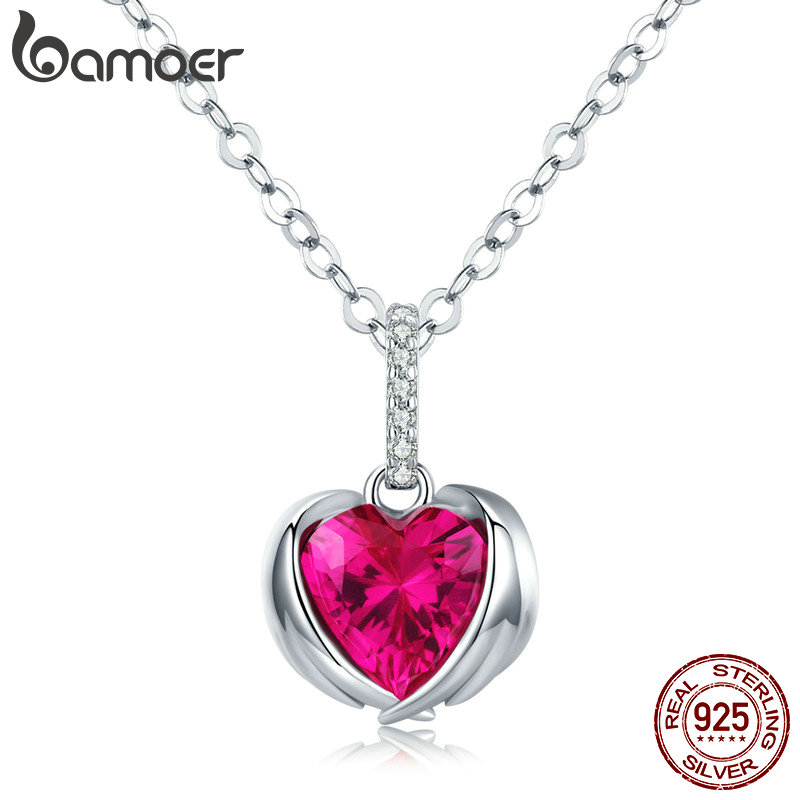 Bamoer Red Heart Guardian Wing Pendant Necklaces For Women AAA Cubic Zirconia Chain Link 925 Sterling Silver Jewelry SCN341