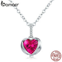 Bamoer czerwone serce strażnik skrzydło wisiorek naszyjniki dla kobiet aaa sześcienne cyrkon Chain Link 925 srebro biżuteria SCN341