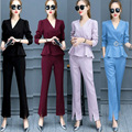 Flare Pants Set Women 2017 Spring Summer V-neck Pant Suit 2 Piece Set Women Ruffles Tops And Elegant Casual Fashion Pant Suits