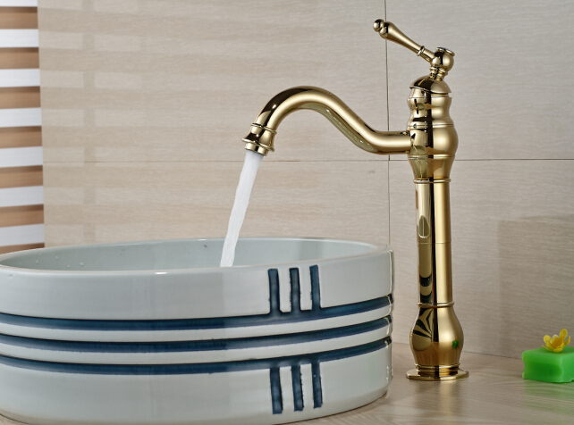 Discount Bathroom Faucets Polished Brass Pull Out Sprary Gold: Free Shipping !Brief Deck Mounted Wash Golden Brass