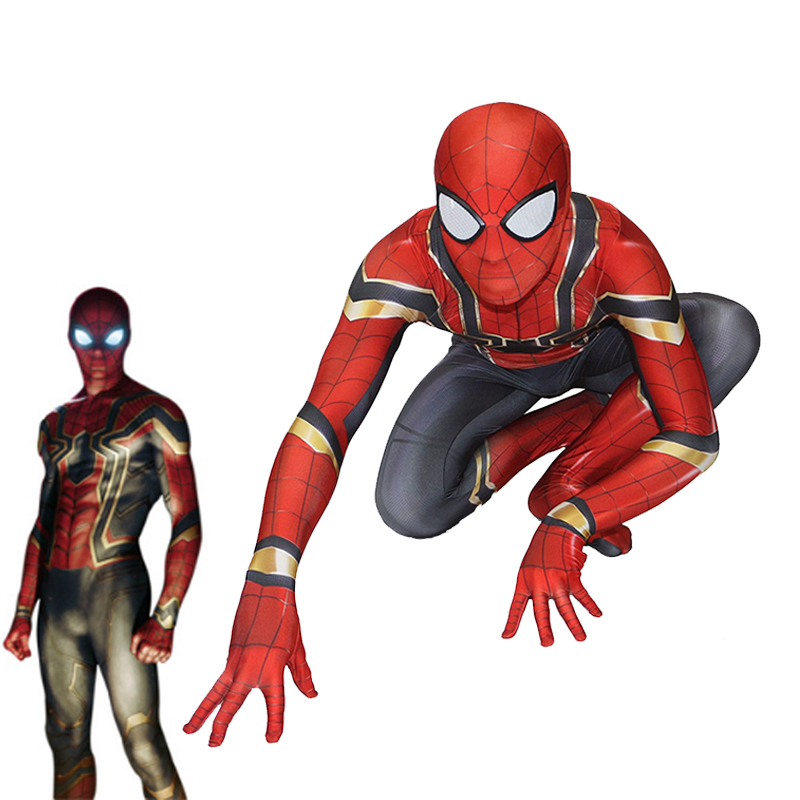 2017 Spiderman Homecoming Cosplay Costume Tom Holland Iron Spider Man Jumpsuit Halloween Carnival Super Hero Fullbody  Zentai
