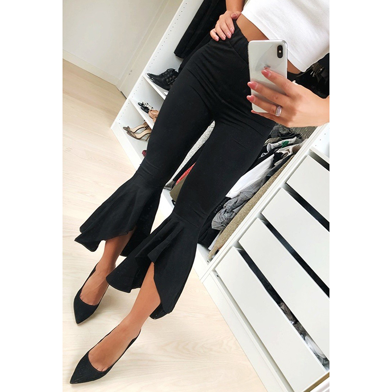 Fashion Asymmetric Frill Hem Ruffle Trousers Women Bottom Flare Pants White Black High Waist Slim Pants Capris WS9391V