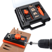 Dowel Jig 6 8 10 12mm Pocket Hole Jig Kit 9.5mm Hole Locator ABS Plastic Handheld Drill Guide Tool For Carpentry With Box