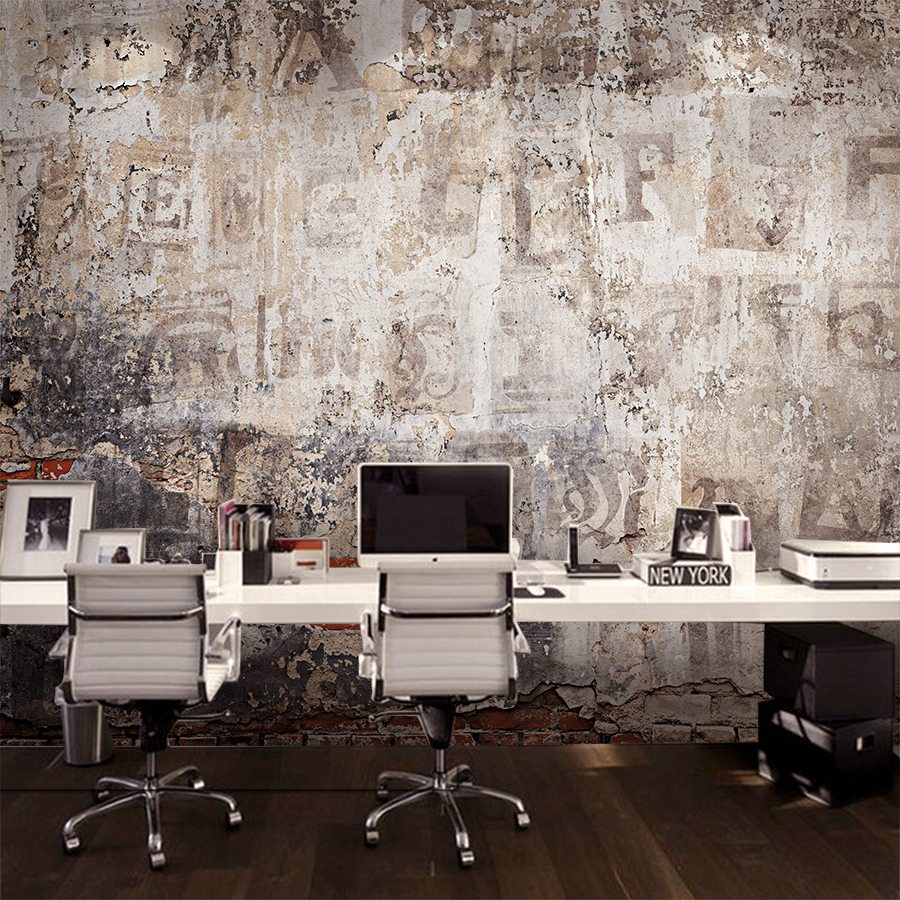 Custom mural industrial style cement wallpaper retro brick for Custom mural wallpaper