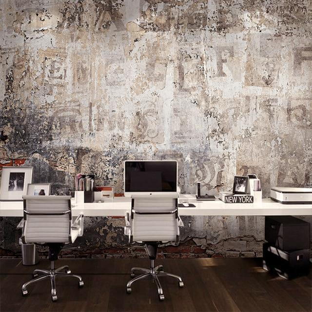 Custom mural industrial style cement wallpaper retro brick ...