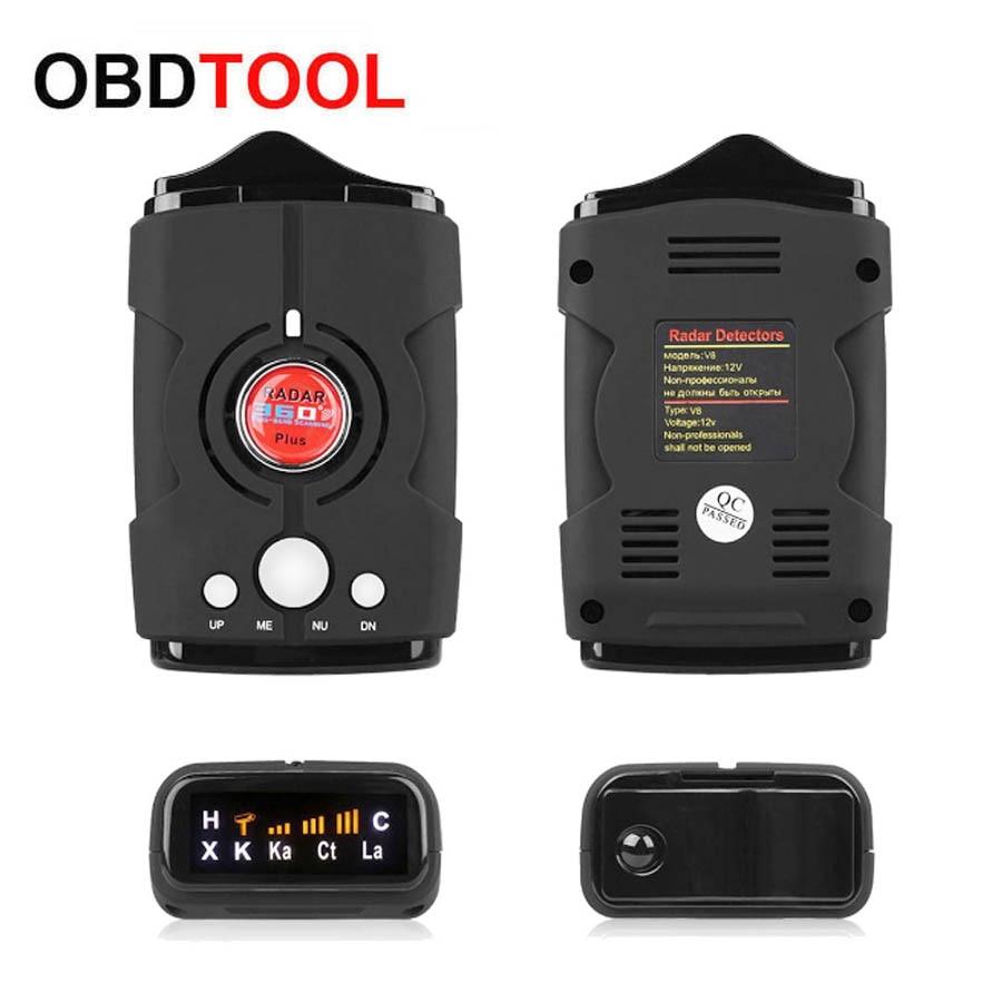 New Car Radar Detector V8 Electronic Dog Russian English Voice Auto Mobile Speed De Radar Flow Velocity Radar Signal Detection