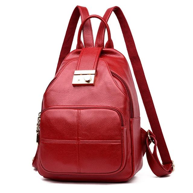 28ab5e0324e9 2018 Fashion Leisure Women Backpacks Women s PU Leather Backpack Female  Lock Anti Theft Shoulder Bags Rucksack