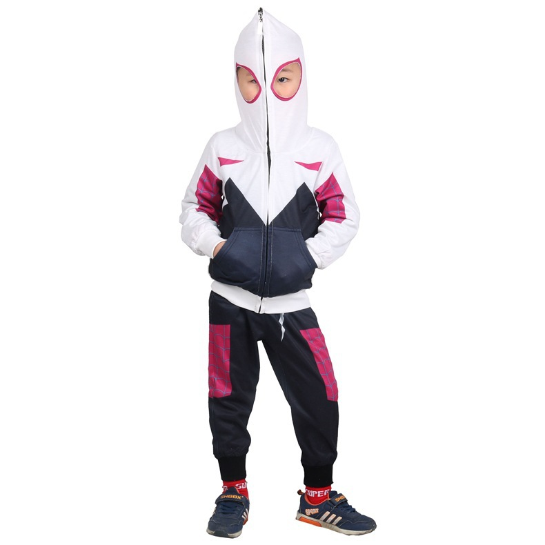 Kids Cosplay Costume Gwen Full Set Sports Suit 3D Printed Hoodie Pants Boys Girls Spider man Cosplay