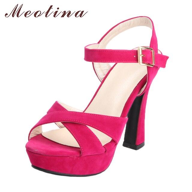 Meotina Nữ Giày Nữ Giày Sandal Mùa Hè 2018 Nền Tảng Dép Plus Size 34-43 Dây Đeo Mắt Cá Chân Cao Gót Cao Cấp Gợi Cảm Đảng màu Đen Hồng