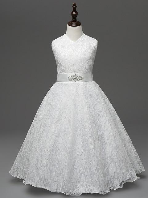 77a1ea559 Largo sin mangas tamaño 4-14 niños partido Vestidos blanco Encaje para  Little Niñas simple