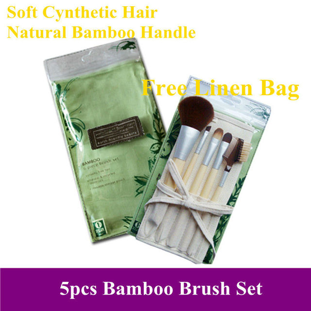Free Shipping! Pro New 6pcs super soft cynthetic hair natural Bamboo Handle Makeup Brushes Kit sets with free linen pouch bag