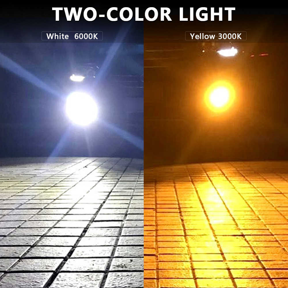2 pcs Car Fog Light Two-color LED Lamp H1 H3 H4 H7 H8/H11 9006 880 Headlight High Power Bulb White&Yellow light