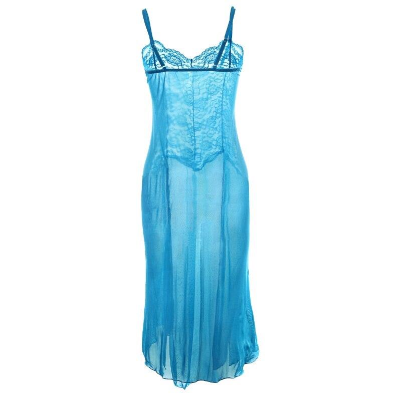Women Perspective Sexy Nightgowns Embroidery Long Sleepskirt Spaghetti Strap Lady Lure Nightgowns Sleepwear Nightwear Dress