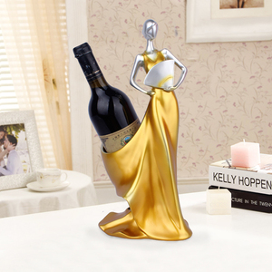 Image 4 - Creative Home Decorative Figurines Ornaments Modern Minimalist Blue Take Fan Beauty Wine Rack Decoration Creative Wedding Craft