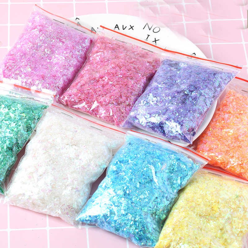 Irregular Shell Paper Sequin DIY Nail Flakies Colorful Paillettes Glitter Nail Art Sequins for 3D Nail Art Decoration 10g