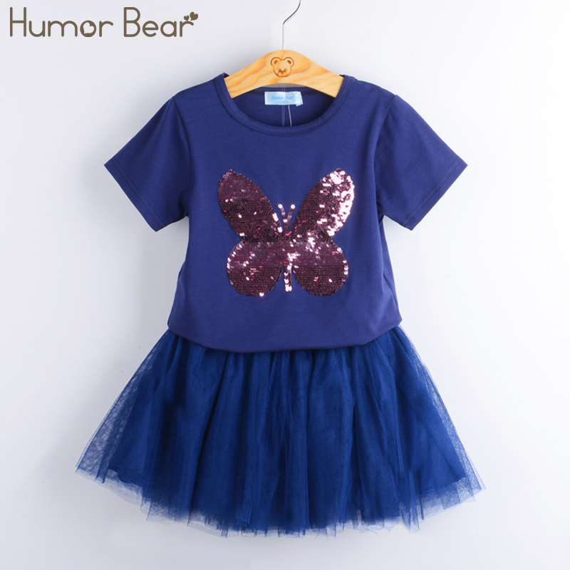 Humor Bear Girls Fashion Clothing Sets Brand Girls Clothes Kids Clothing Sets Cartoon Butterfly T Shirts