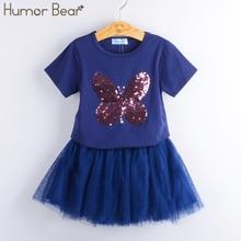 L'humour Ours Filles De Mode Ensembles de Vêtements de Marque Filles Vêtements Enfants Vêtements Ensembles Papillon de Bande Dessinée T-Shirts + Robe 2 Pcs Costumes