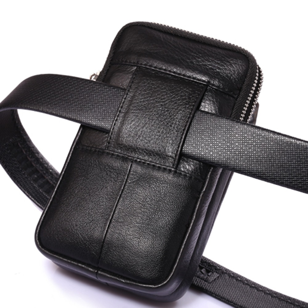 homens de couro genuíno bolsa Suitable For : Fanny Pack Bag