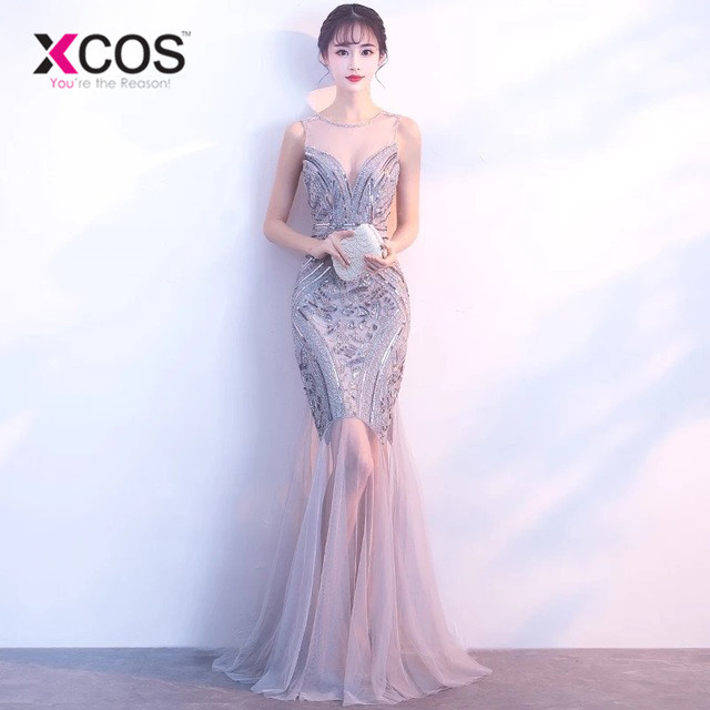 XCOS Sequins Beading Evening Dresses Mermaid Long Formal Prom Party Dress 2018 New Style