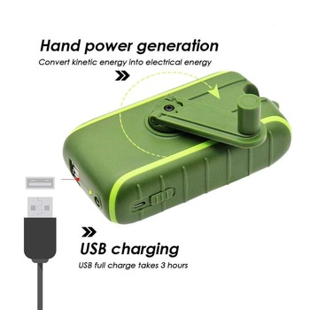Hand Dynamo & Solar Energy Travel USB Charger portable external battery 6000mAh 8000mAh Power bank Manual Power Generation 4